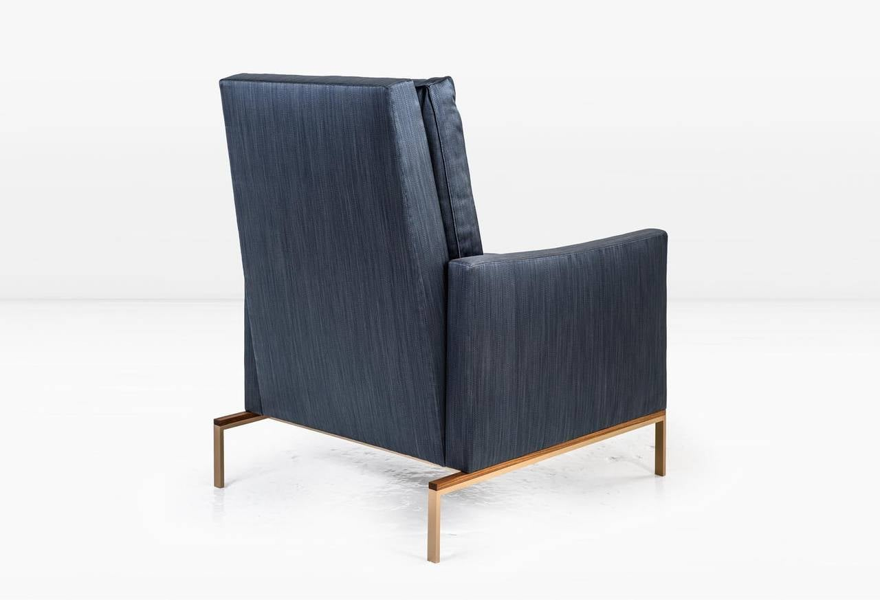 American Larkin Armchair With Blue Silk Cotton Strié, Silicon Bronze And  Teak Base For Sale