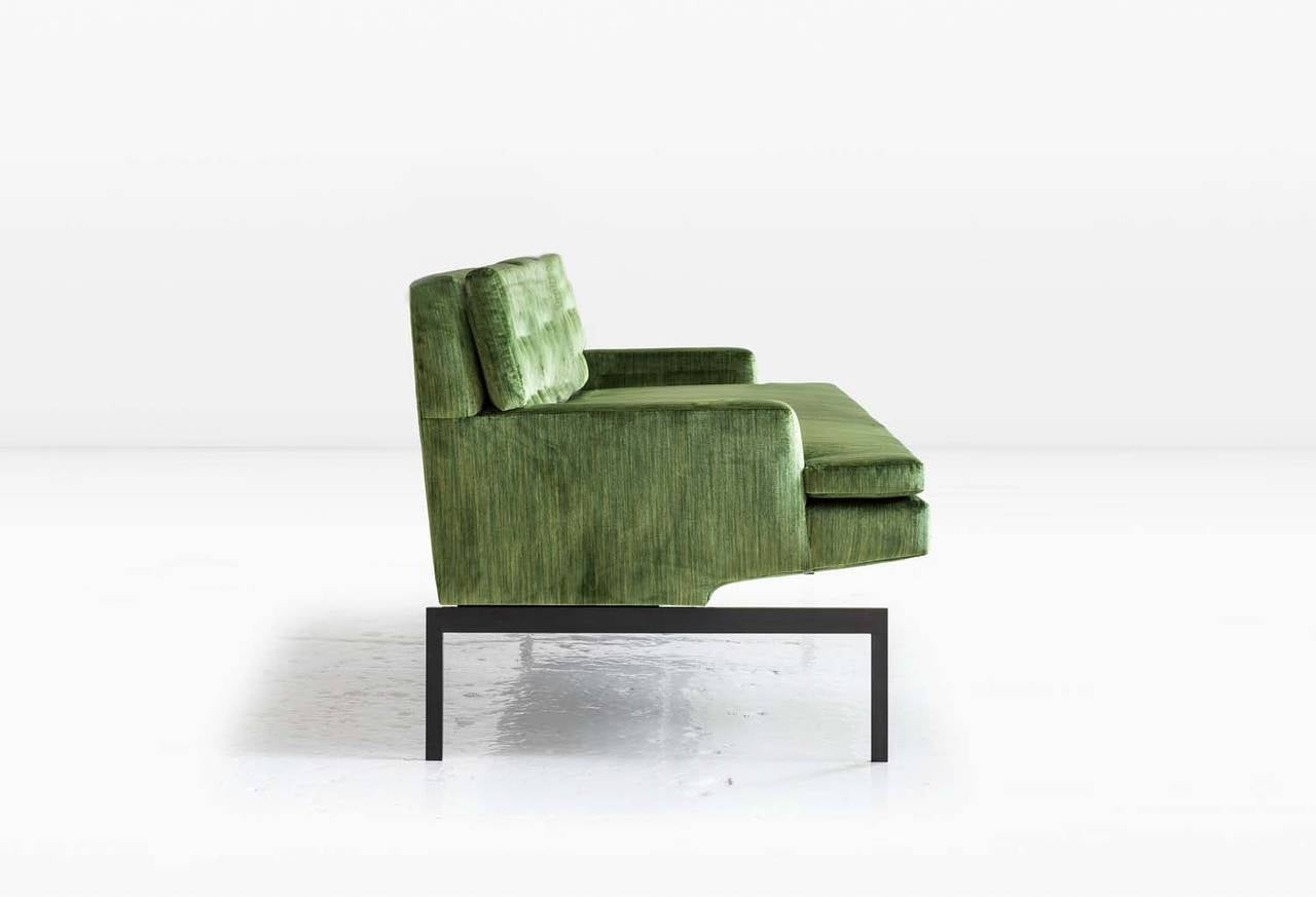 Mancini Sofa with Tufted Back in Green Velvet and Silicon Bronze Base 3
