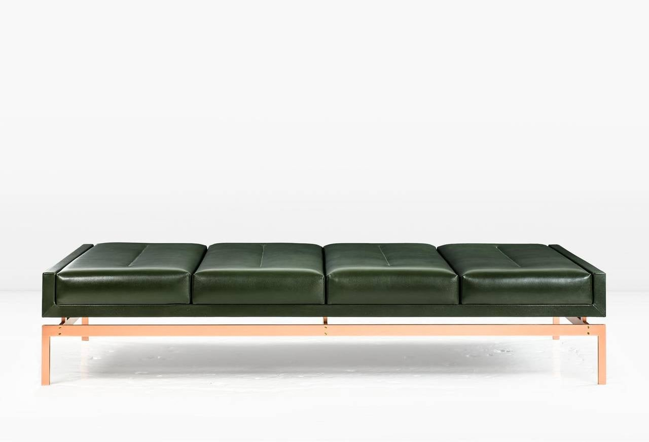 Olivera chaise longue or daybed or bench with green for Chaise 70 cm