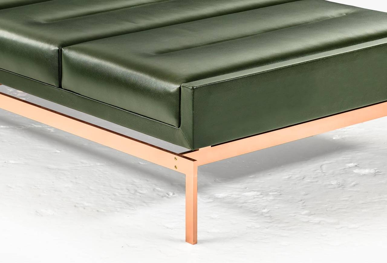 Olivera chaise longue or daybed or bench with green for Leather daybed bench