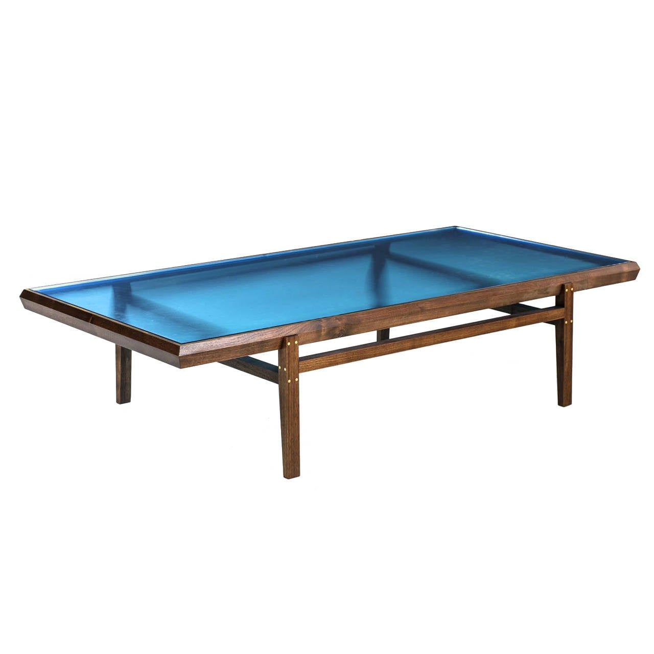 Pintor Coffee Table Walnut Frame With Brass Inlay Blue Glass Top For Sale At 1stdibs