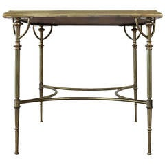 1950s French Table in Brass with Leather Details