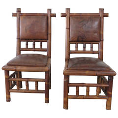 19th Century French Bamboo Hall Chairs