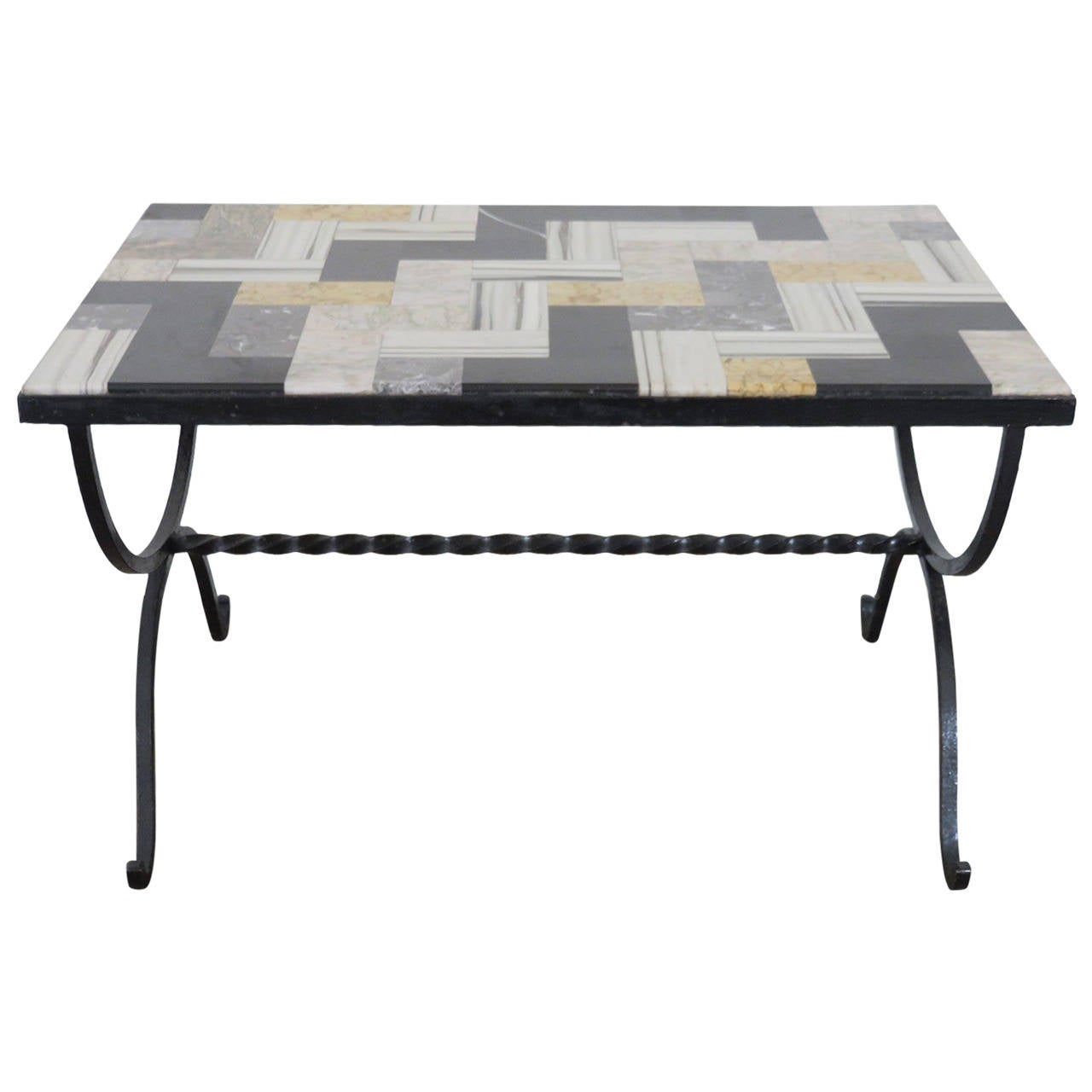 1940s Italian Coffee Table With Inlaid Marble Top At 1stdibs
