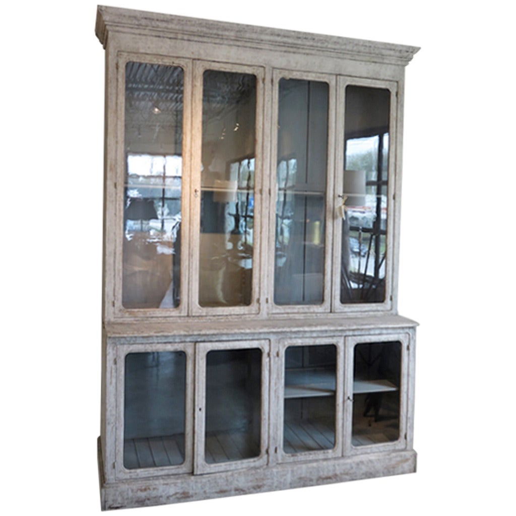 19th Century French Pharmacy Cabinet With Antique Glass At