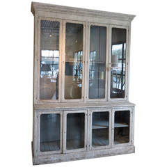 19th Century French Pharmacy Cabinet with Antique Glass