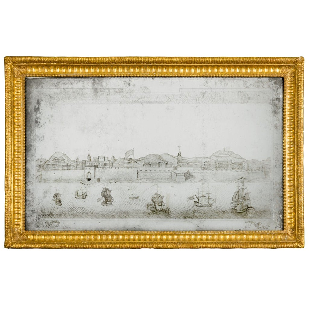 18th Century Etched Mirror Picture Depicting Fort St