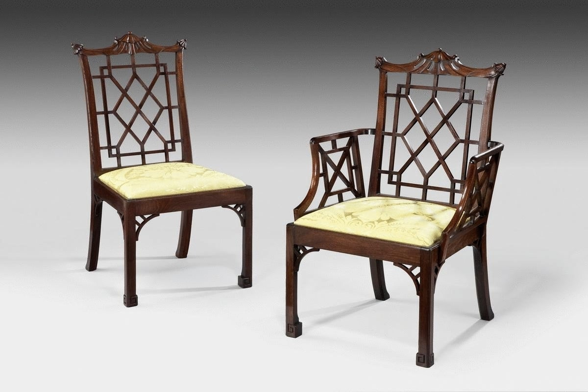Set Of 12 Chinese Chippendale Mahogany Side Chairs 2