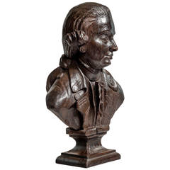 Late 18th Century Carved Oak Bust of Major John André