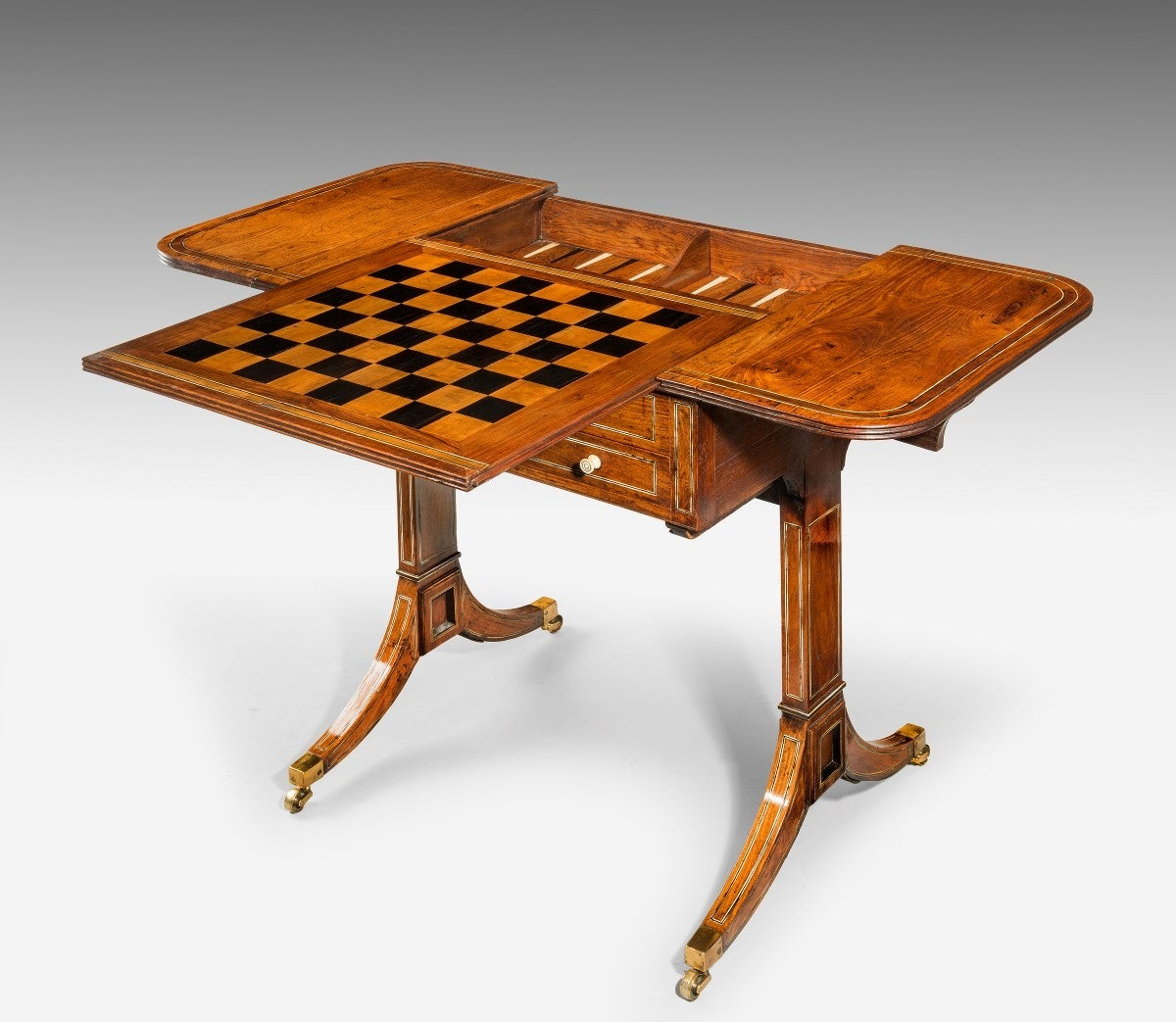 Chinese Export Padouk Wood Games Table For Sale At 1stdibs