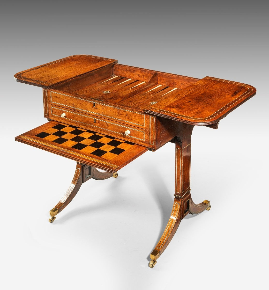 Chinese export padouk wood games table for sale at stdibs