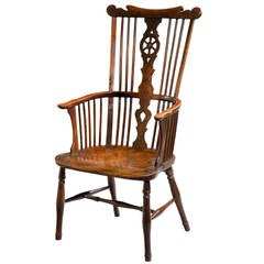 18th Century Yew Wood and Elm Windsor Chair
