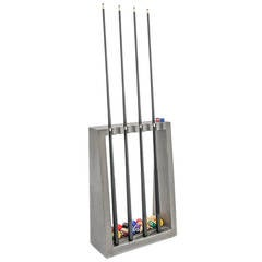 James De Wulf Cue Rack, Floor Standing Concrete Billiards Cue Rack