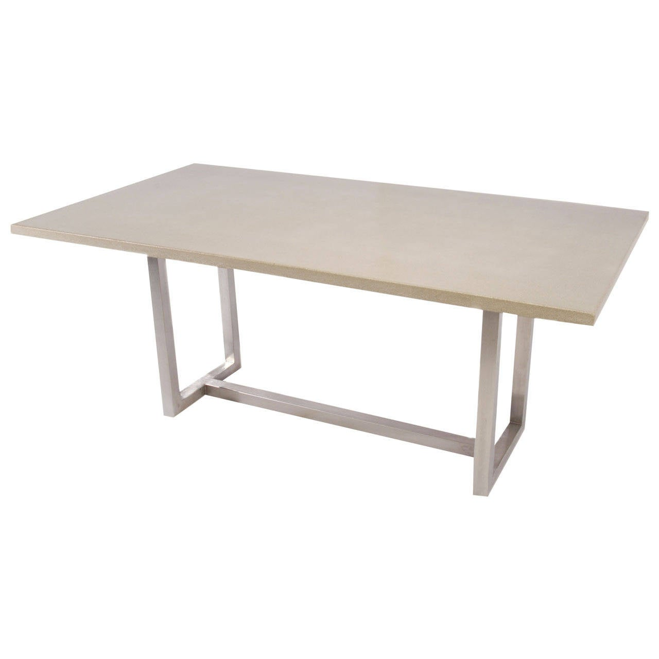 James de Wulf Vue Dining Table, Concrete and Brushed Stainless Steel