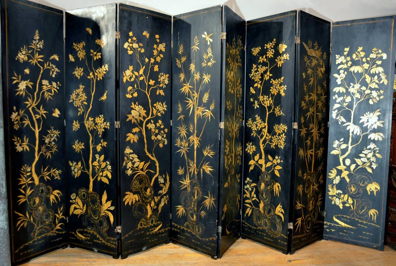 Folding Screen Early 19th Century Chinese Black Lacquer Export Folding Screen At