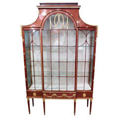 Edwardian Satinwood and Parcel-Gilt Display or China Cabinet