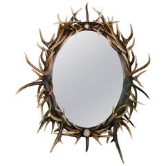 Late 20th Century Large Oval Antler Mirror
