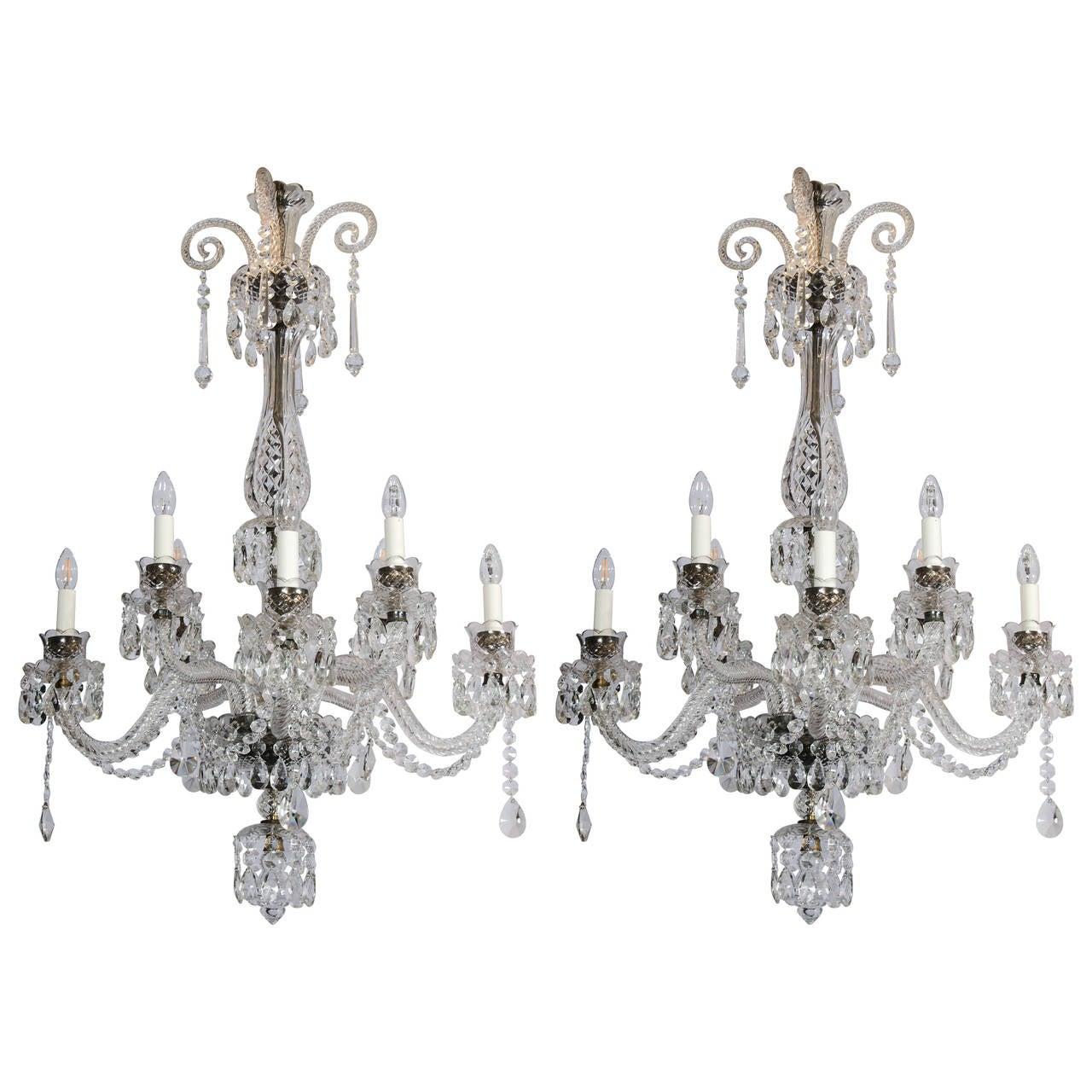 Pair of English Georgian Style Crystal Chandeliers