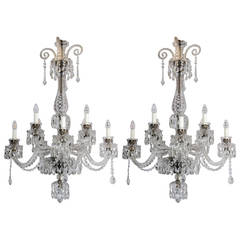 Pair of English Georgian Style Crystal Chandeliers