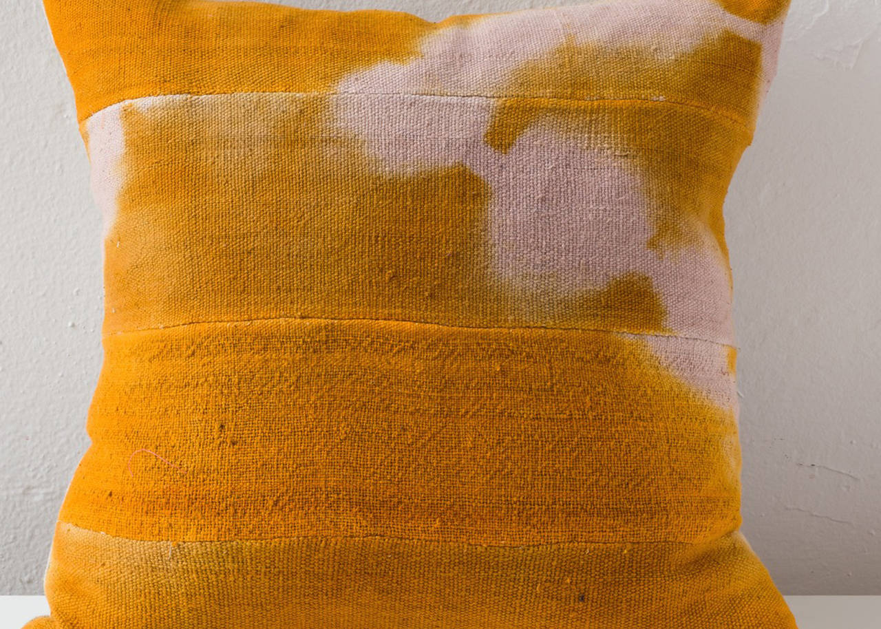 Overdyed African Mud Cloth Pillow In Muted Orange For Sale