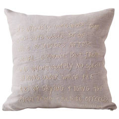 Embroidered Pillow with Text by Edith Wharton