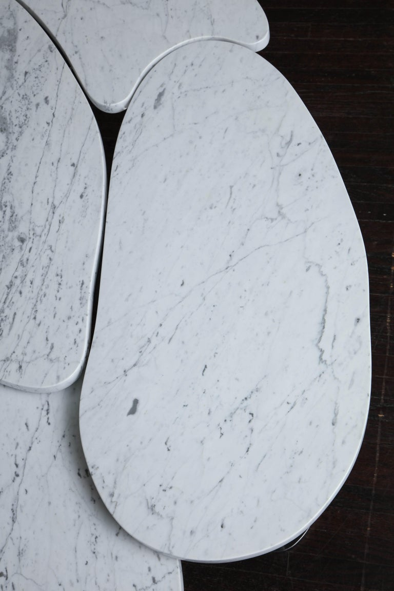 Contemporary Organic Freeform Marble Cocktail Table For Sale
