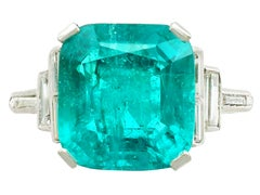 1930s 5.00 Carat Colombian Emerald Diamond Platinum Cocktail Ring