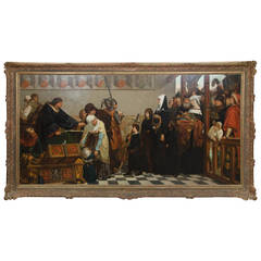 Large 19th Century Medieval Oil Painting