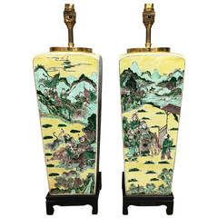Pair of 19th Century Famille Verte Vases Turned Lamps