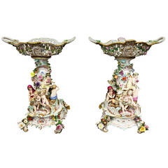 Pair of 19th Century Meissen Comports