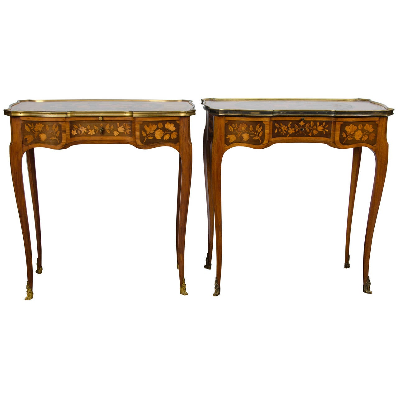 Pair of Louis XV Style Inlaid Side Tables For Sale