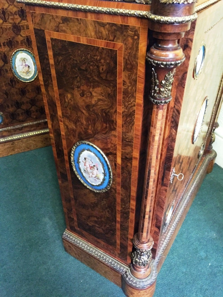 English Pair of 19th Century Kingwood Pier Cabinets with Sèvres Plaques For Sale