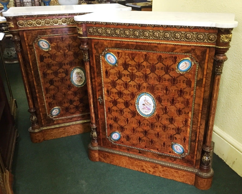 Parquetry Pair of 19th Century Kingwood Pier Cabinets with Sèvres Plaques For Sale