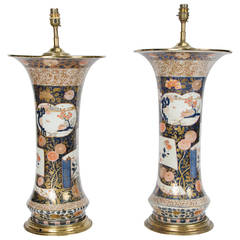 Pair of 18th Century Japanese Imari Vases Turned Lamps