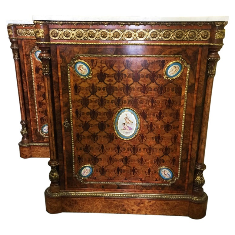 Pair of 19th Century Kingwood Pier Cabinets with Sèvres Plaques For Sale