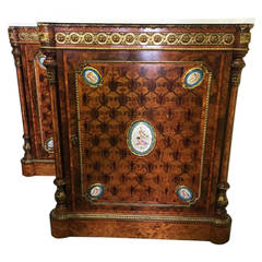 Pair of 19th Century Kingwood Pier Cabinets with Sèvres Plaques
