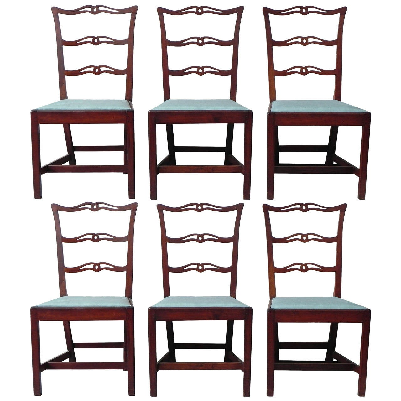 set of six chippendale cherry ribbon back dining chairs