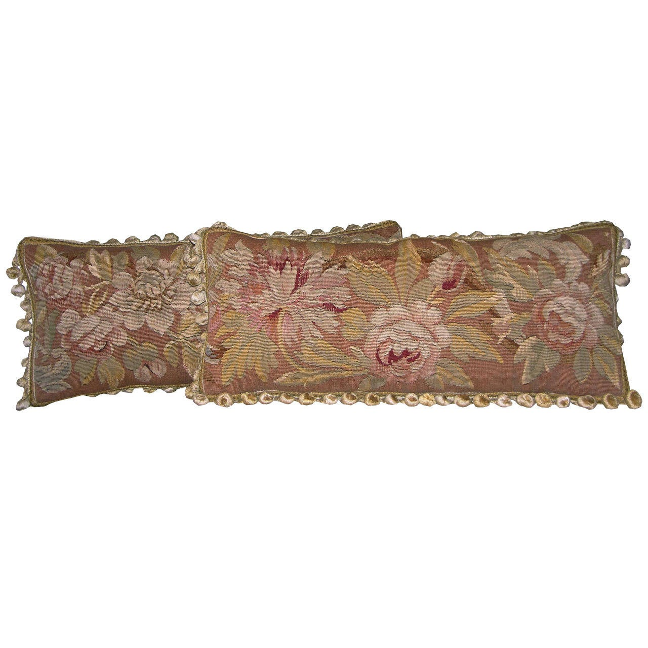 Pair of Antique French Aubusson Pillows, circa 1860 For Sale
