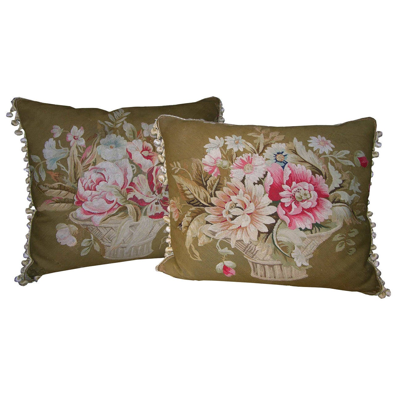Pair of French Aubusson Pillows, circa 1860 For Sale