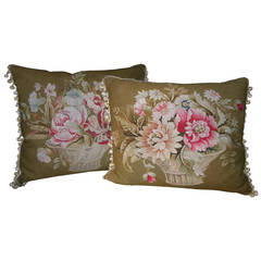 Pair of French Aubusson Pillows, circa 1860