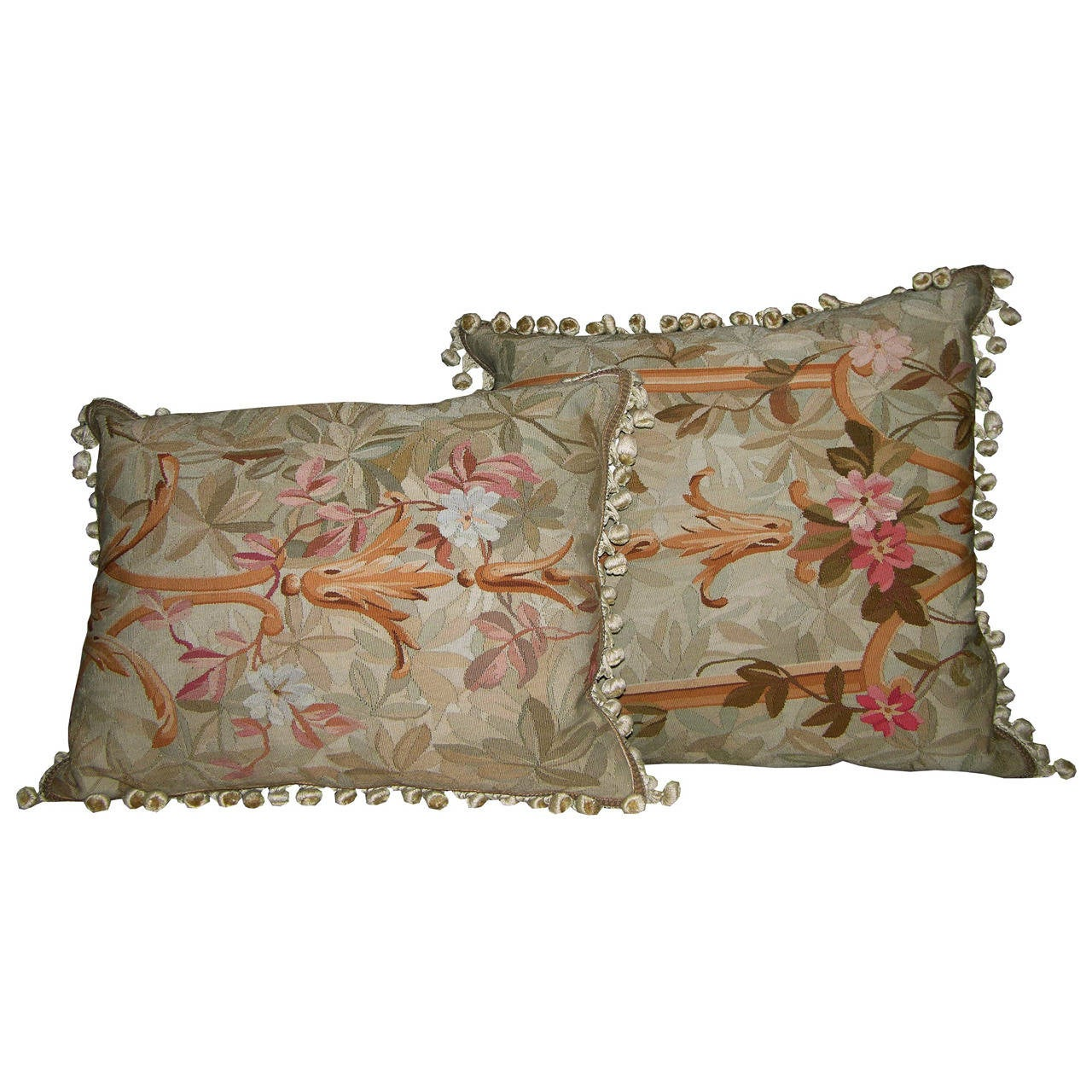 Pair Antique French Aubusson Pillows, circa 1869 For Sale