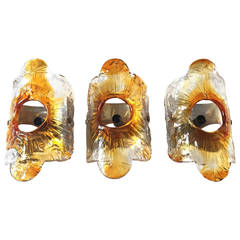 Midcentury Wall Sconces by Murano, Set of 3