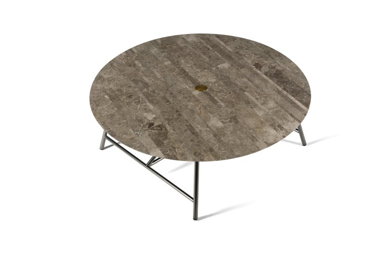 For Sale: Gray (Gris du Marais) Salvatori Large W Round Coffee Table 2