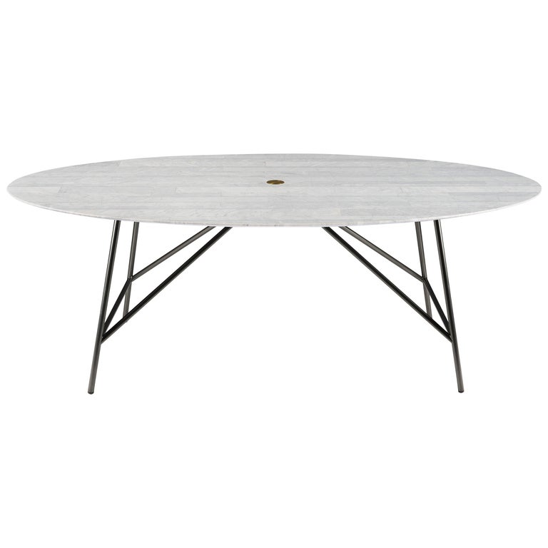 For Sale: White (Bianco Carrara) Salvatori Medium W Oval Dining Table