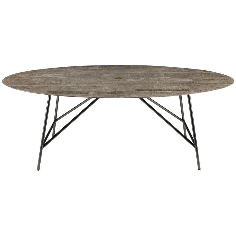 For Sale: Gray (Gris du Marais) Salvatori Medium W Oval Dining Table