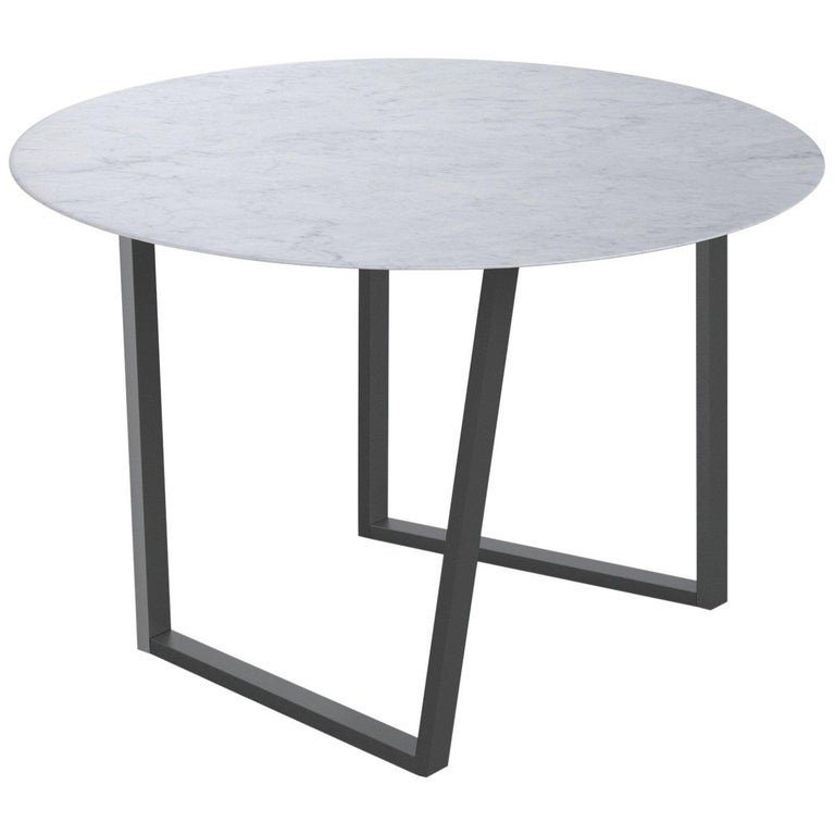 For Sale: White (Bianco Carrara) Salvatori Round Dritto Dining Table by Piero Lissoni