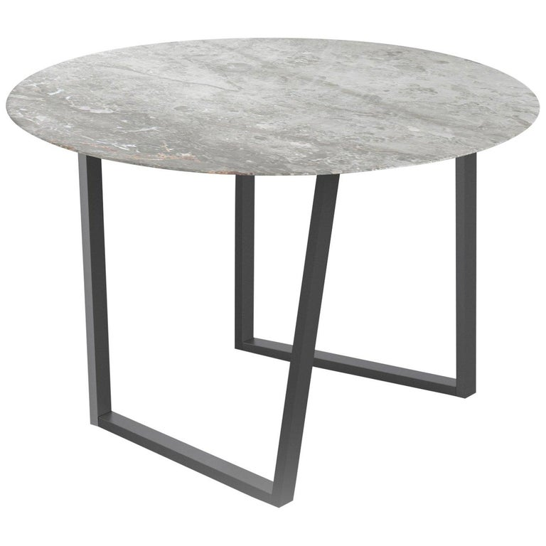 For Sale: Gray (Gris du Marais) Salvatori Round Dritto Dining Table by Piero Lissoni