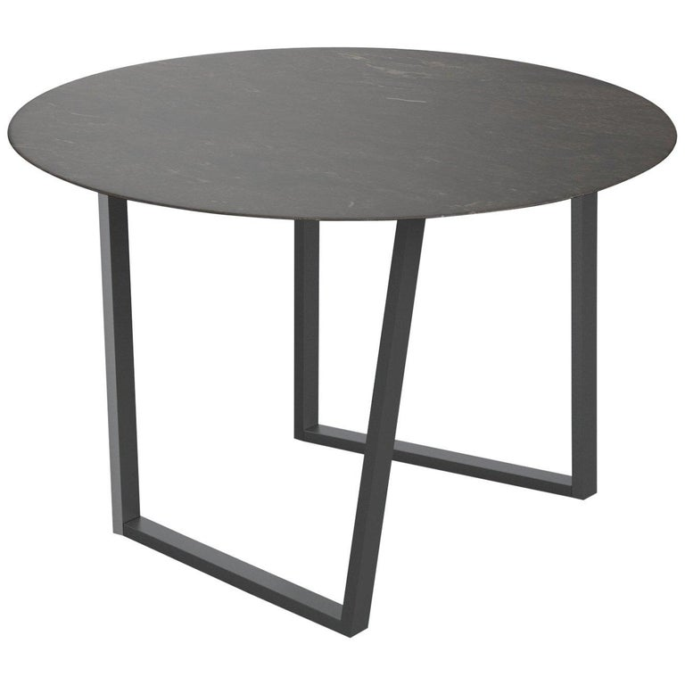 For Sale: Brown (Pietra d'Avola) Salvatori Round Dritto Dining Table by Piero Lissoni