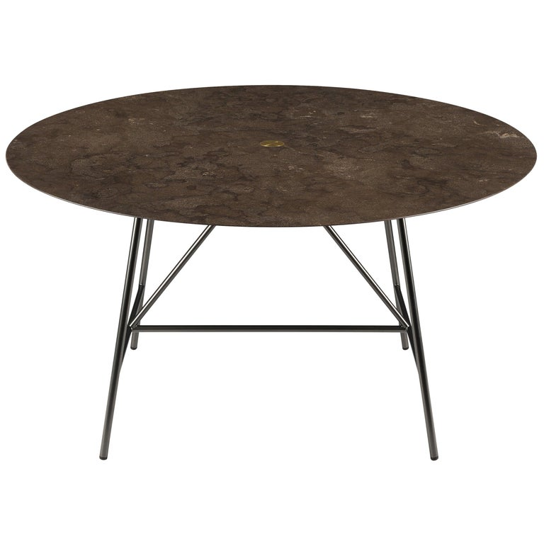 For Sale: Brown (Pietra d'Avola) Salvatori Medium W Round Dining Table