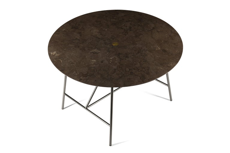For Sale: Brown (Pietra d'Avola) Salvatori Medium W Round Dining Table 2